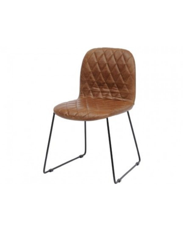 Clifton Tan Leather Quilted Dining Chair